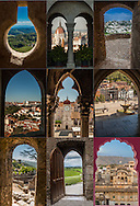 Collage of Portals to the world, windows opening onto a world scene