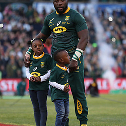 Tendai Mtawarira of South Africa on his 100th cap with his Children,Talumba Mtawarira, Wangu Mtawarira during the 2018 Castle Lager Incoming Series 2nd Test match between South Africa and England at the Toyota Stadium.Bloemfontein,South Africa. 16,06,2018 Photo by (Steve Haag JMP)