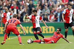 (L-R) David Zurutuza of Real Sociedad de Futbol, Bilal Basacikoglu of Feyenoord, Juanmi of Real Sociedad de Futbol during the pre-season friendly match between Feyenoord Rotterdam and Real Sociedad at the Kuip on July 29, 2017 in Rotterdam, The Netherlands