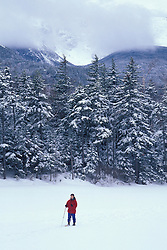 Lost Pond. White Mountains. Snowshoeing in a snow storm.  March. Tuckermans Ravine.  Pinkham Notch, NH
