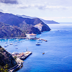 Catalina Island Avalon Bay panorama aerial picture from above in the mountains. Catalina Island is a popular travel destination off the coast of Southern California in the United States.