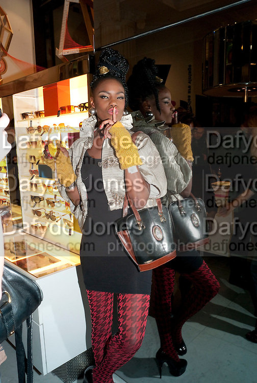Shingai Shoniwa; THE NOISETTES, The Nineties are Vintage. Concept Store, Rellik and Workit. The Wonder Room. Selfridges. Oxford St. London. 7 January 2010.