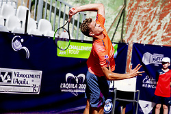 June 16, 2018 - L'Aquila, Italy - Johannes Haerteis during match between Johannes Haerteis (GER) and Jordan Correia (BRA) during day 1 at the Interzionali di Tennis Citt dell'Aquila (ATP Challenger L'Aquila) in L'Aquila, Italy, on June 16, 2018. (Credit Image: © Manuel Romano/NurPhoto via ZUMA Press)