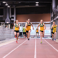 Women in action during the Cougars Track&Field Intersquad on November 19 at Centre for Kinesiology, Health and Sport. Credit: Arthur Ward/Arthur Images