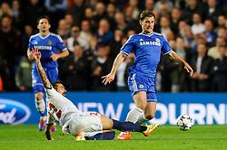 Chelsea Defender Branislav Ivanovic (SRB) is challenged by PSG Forward Ezequiel Lavezzi (ARG) - Photo mandatory by-line: Rogan Thomson/JMP - 07966 386802 - 08/04/2014 - SPORT - FOOTBALL - Stamford Bridge, London - Chelsea v Paris Saint-Germain - UEFA Champions League Quarter-Final Second Leg.