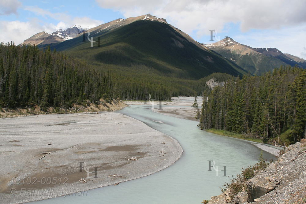 North Saskatchewan River, seen from the Icefields Parkway, flows gray green with heavy glacial silt of the Canadian Rockies in Banff National Park; Alberta, Canada.