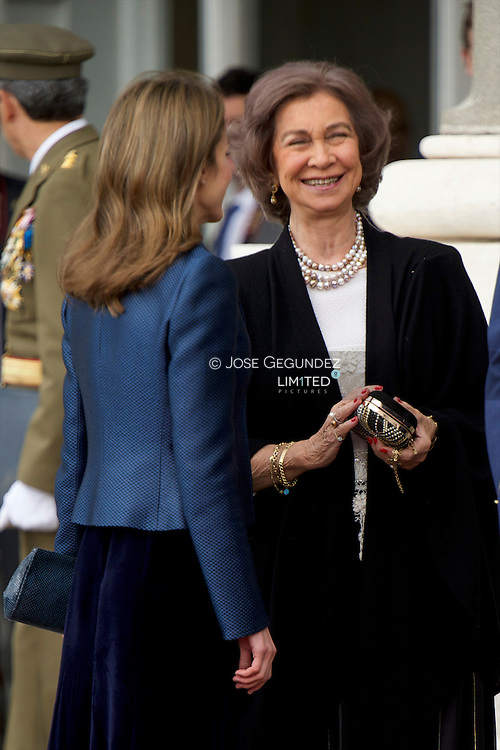 Princess Letizia of Spain, Prince Felipe of Spain, Queen Sofia of Spain and King Juan Carlos of Spain attend the traditional 'Pascua Militar' ceremony at The Royal Palace on January 6, 2013 in Madrid, Spain.