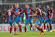 Goal Scunthorpe United forward Lee Novak celebrates as he scores to make it 1-2 during the EFL Sky Bet League 1 match between Scunthorpe United and Portsmouth at Glanford Park, Scunthorpe, England on 24 November 2018.
