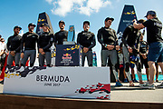 The Great Sound, Bermuda, 21st June 2017, Red Bull Youth America's Cup Finals. NZL Sailing Team on stage to receive medals for taking second in The Red Bull Youth America's Cup regatta.