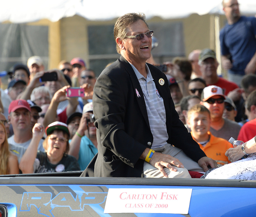 COOPERSTOWN, NY - JULY 26: Hall of Famer Ccarlton Fisk participates in the annual Parade of Legends down Main Street in Cooperstown, New York on July 26, 2014.