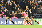 Jaco van der Walt runs in a try during the European Rugby Challenge Cup match between Edinburgh Rugby and Stade Francais at Murrayfield Stadium, Edinburgh, Scotland on 12 January 2018. Photo by Kevin Murray.