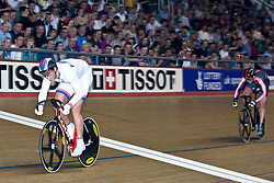 © Licensed to London News Pictures. 19/02/2011. Jason Kenny of team Sky is beaten in the final of the mens Sprint, by Frenchman KÈvin SIREAU..At the UCI Track Cycling World CUp in Manchester.r this evening (19/02/2011). Photo credit should read: Reuben Tabner/LNP