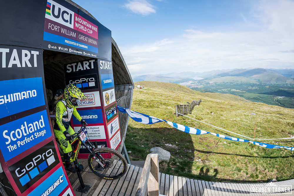 Sandra Rubesam sits at the starting gate at the top of the Fort WIlliam downhill track during Saturday practise at the UCI Mountain Bike World Cup.