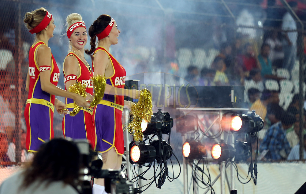 Cheer girls performs during match 10 of the Oppo Champions League Twenty20 between the Kolkata Knight Riders and the Perth Scorchers held at the Rajiv Gandhi Cricket Stadium, Hyderabad, India on the 24th September 2014<br /> <br /> Photo by:  Sandeep Shetty / Sportzpics/ CLT20<br /> <br /> <br /> Image use is subject to the terms and conditions as laid out by the BCCI/ CLT20.  The terms and conditions can be downloaded here:<br /> <br /> http://sportzpics.photoshelter.com/gallery/CLT20-Image-Terms-and-Conditions-2014/G0000IfNJn535VPU/C0000QhhKadWcjYs