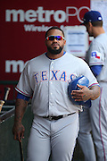 ANAHEIM, CA - MAY 4:  Prince Fielder #84 of the Texas Rangers looks on from the dugout during the game against the Los Angeles Angels of Anaheim at Angel Stadium on Sunday, May 4, 2014 in Anaheim, California. The Rangers won the game 14-3. (Photo by Paul Spinelli/MLB Photos via Getty Images) *** Local Caption *** Prince Fielder