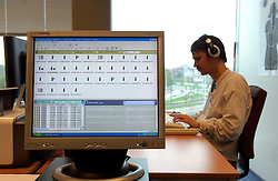 ANTWERP, BELGIUM - OCT-15-2007 - A computer screen shows taped wire tap conversations being evaluated by Sacha Van Loo. Van Loo is a member of a new special unit of blind policemen serving in the Belgian Federal Police Force. Van Loo's heightened sense of hearing and working knowledge of six languages makes him particularly qualified for evaluating taped wire taps. (Photo / Jock Fistick)
