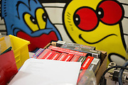 A box of Sega Genesis games waiting to be refurbished and tested at the GameStop retro classics console games refurbishment center in Grapevine, Texas on June 24, 2015. (Cooper Neill for Mashable)
