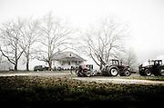 Fog lingers over a small farm house in Gloucester County, NJ.