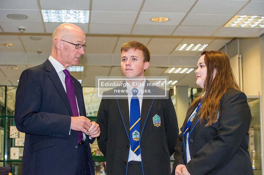 Pictured: Mr Swinney was greeted by head boy and girl Sophie Gardiner and <br /> <br /> Education Secretary  John Swinney visited Firrhill School today and met students and parents as the results wer available for opening.<br /> <br /> <br /> Ger Harley | EEm 7 August 2018