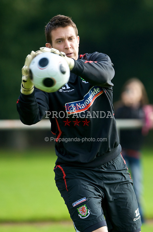 DU?SSELDORF, GERMANY - Wednesday, October 15, 2008: Wales' goalkeeper Lewis Price during training at Neuss Gnadental ahead of the 2010 FIFA World Cup South Africa Qualifying Group 4 match against Germany. (Photo by David Rawcliffe/Propaganda)
