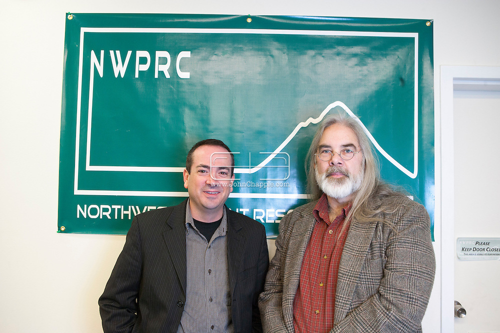 December 7, 2012. Seattle, Washington. Washington and Colorado became the first states to vote to decriminalize and regulate the possession of an ounce or less of marijuana by adults over 21. Pictured is John Davis (L) and Jake Dimmock who own Northwest Patient Resource Center, which is a medical marijuana facility in Seattle..Photo © John Chapple / www.JohnChapple.com