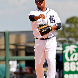 March 14, 2012; Lakeland, FL, USA; Detroit Tigers shortstop Ramon Santiago (39) during a spring training game against the New York Mets at Joker Marchant Stadium. Mandatory Credit: Derick E. Hingle-US PRESSWIRE