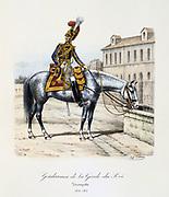 Trumpeter of the Gendarmes of the Royal Guard, 1814-1815.   From 'Histoire de la maison militaire du Roi de 1814 a 1830' by Eugene Titeux, Paris, 1890.