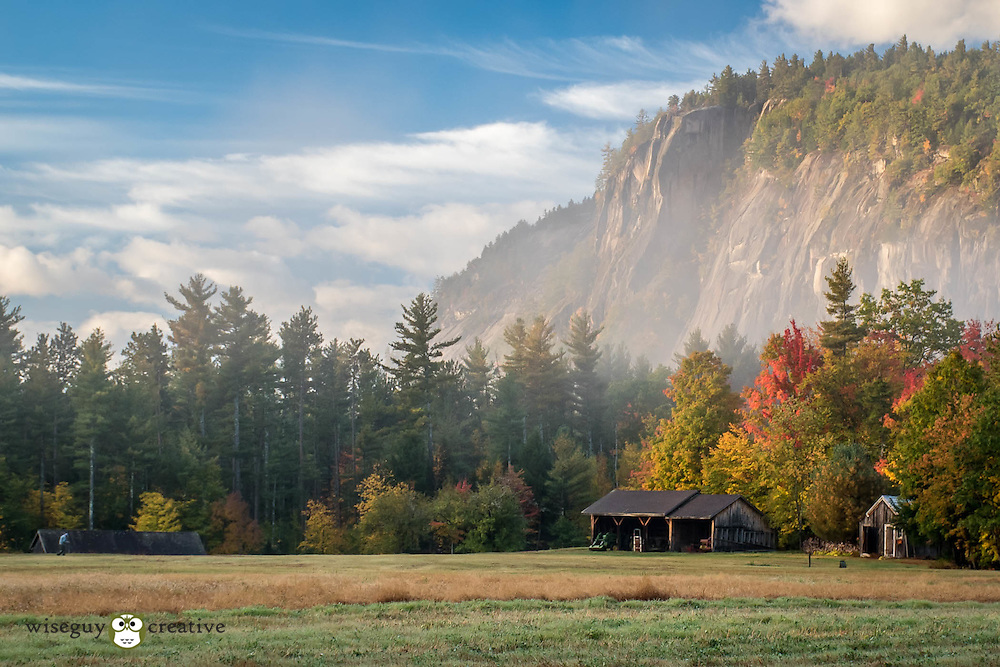 Early foggy morning on Lucy Farm in North Conway in the shadows of Cathedral Ledge.