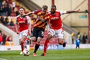 Bradford City forward Billy Clarke (10) gets through during the EFL Sky Bet League 1 play off first leg match between Bradford City and Fleetwood Town at the Coral Windows Stadium, Bradford, England on 4 May 2017. Photo by Simon Davies.
