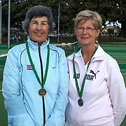 Jean Porter, Great Britain, (left) and June Simpson, Australia, Semi Finalists, 70 Womens Doubles, during the 2009 ITF Super-Seniors World Team and Individual Championships at Perth, Western Australia, between 2-15th November, 2009.