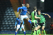 Calvin Andrew heads at goal during the EFL Sky Bet League 1 match between Rochdale and Plymouth Argyle at Spotland, Rochdale, England on 24 April 2018. Picture by Daniel Youngs.