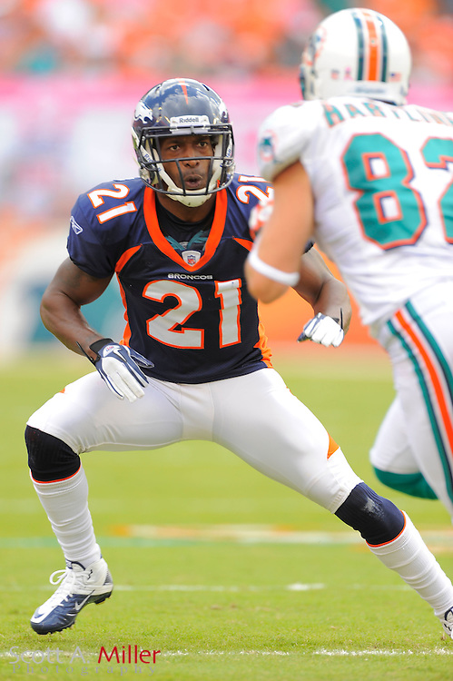 Denver Broncos cornerback Andre' Goodman (21) during the Broncos 18-15 overtime win against the Miami Dolphins at Sun Life Stadium on Oct. 22, 2011 in Miami Gardens, Fla.  ...©2011 Scott A. Miller