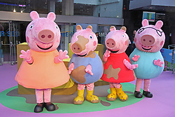 © Licensed to London News Pictures. 01/02/2015, UK. Mummy Pig, George Pig, Peppa Pig & Daddy Pig, Peppa Pig: The Golden Boots - UK Film Premiere, Odeon Leicester Square, London UK, 01 February 2015. Photo credit : Brett D. Cove/Piqtured/LNP
