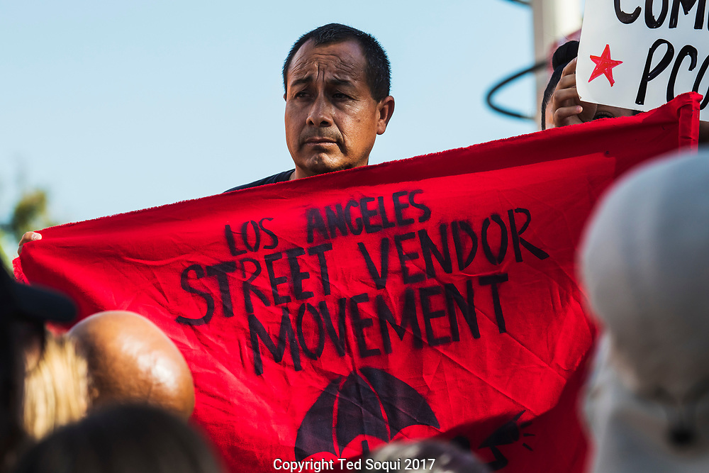 Rally and pro-elotero and street vendor demonstration in Los Angeles.<br /> Supporters for Benjamin Ramirez and LA area street vendors gathered near the area Ramirez was attacked earlier in the week by an angry citizen.