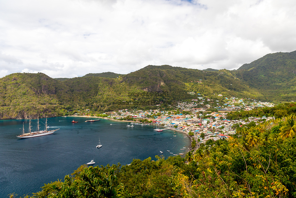 The view of the Sea Cloud docked off shore of the city of Soufriere on the island of  St. Lucia, Caribbean, Sea Cloud, travel