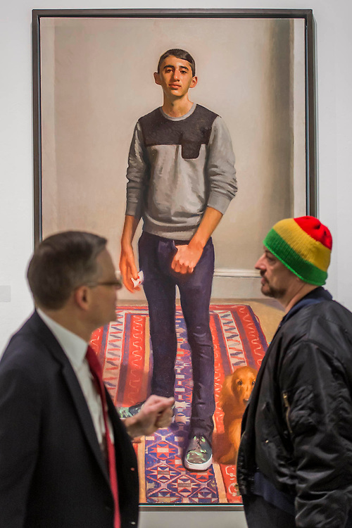 Boy George discusses The de Laszlo Foundation winner, Alex Lieberman at 17 by Jamie Routley - The Royal Society of Portrait Painters Annual Exhibition at the Mall Galleries. It includes over 200 portraits by over 100 artists.