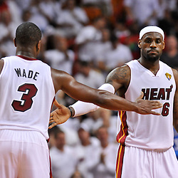 Jun 17, 2012; Miam, FL, USA; Miami Heat small forward LeBron James (6) and shooting guard Dwyane Wade (3) during the second quarter in game three in the 2012 NBA Finals against the Oklahoma City Thunder at the American Airlines Arena. Mandatory Credit: Derick E. Hingle-US PRESSWIRE