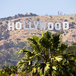 Photo of the famous Hollywood sign in Hollywood California. The sign is a landmark located in the Mount Lee section of Hollywood Hills in the Santa Monica Mountains in Southern California. The sign is a very popular icon and is frequently used in television shows and movies.