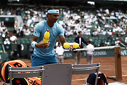 June 2, 2018 - Paris, France - Rafael Nadal of Spain reacts during his mens singles third round match against Richard Gasquet of France during day seven of the 2018 French Open at Roland Garros on June 2, 2018 in Paris, France. (Credit Image: © Mehdi Taamallah/NurPhoto via ZUMA Press)