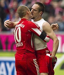 Franck Ribery embraces Arjen Robben.