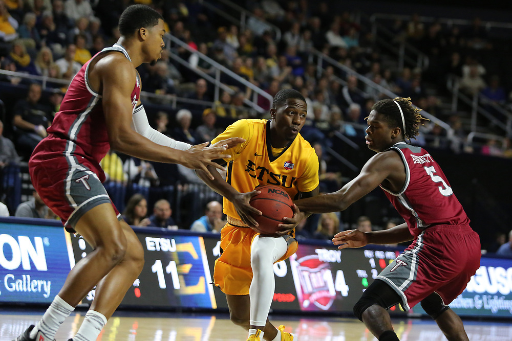 November 22, 2017 - Johnson City, Tennessee - Freedom Hall: ETSU guard Jalan McCloud (12)<br /> <br /> Image Credit: Dakota Hamilton/ETSU