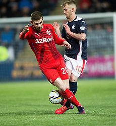 Rangers Kyle Hutton and Falkirk's Craig Sibbald. Falkirk 1 v 1 Rangers, Scottish Championship game played 27/2/2014 at The Falkirk Stadium .
