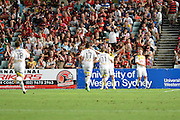 01.01.2014 Sydney, Australia. Wellingtons forward Stein Huysegems celebrates after his goal during the Hyundai A League game between Western Sydney Wanderers FC and Wellington Phoenix FC from the Pirtek Stadium, Parramatta. Wellington won 3-1.
