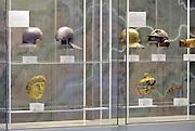 Nederland, Nijmegen, 17-9-2016 Interieur van het gemeentelijk museum voor oudheid en moderne kunst het Valkhof . Permanente expositie van de collectie Romeinse items uit opgravingen in de omgeving, regio, zoals helmen, gezichtsmaskers en een triomfzuil .  . FOTO: FLIP FRANSSEN