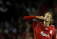 Photo: Paul Thomas.<br /> Liverpool v Toulouse. UEFA Champions League Qualifying. 28/08/2007.<br /> <br /> Peter Crouch (15) of Liverpool celebrates his goal.
