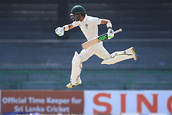 July 17, 2017 - Colombo, Sri Lanka - Zimbabwe cricketer SIKANDAR RAZA leaps in the air in celebration after scoring 100 runs during the 4th day's play in the only Test match between Sri Lanka and Zimbabwe at R Premadasa International Cricket Stadium in the capital city of Colombo, Sri Lanka.  (Credit Image: © Tharaka Basnayaka/NurPhoto via ZUMA Press)