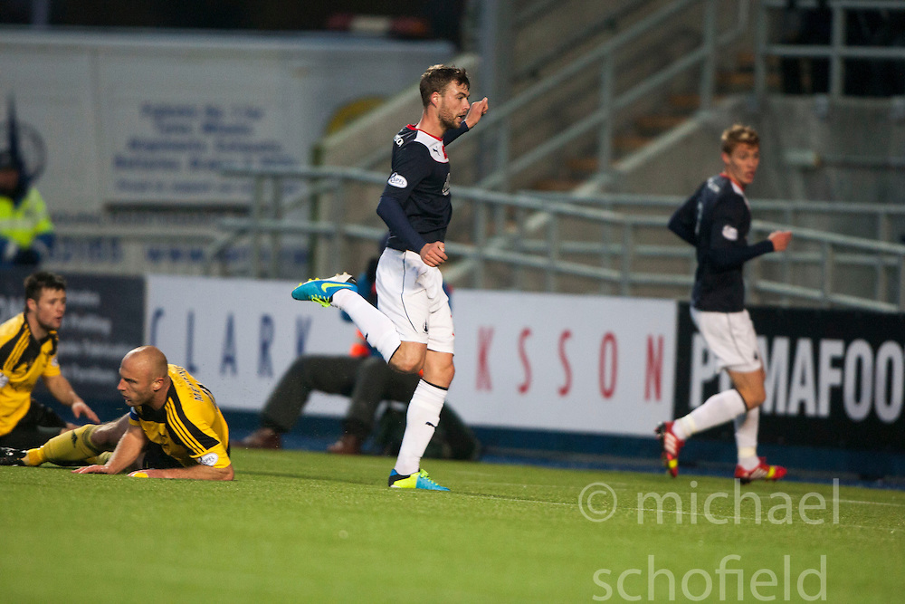 Falkirk's Rory Loy scoring their fourth goal.<br /> Falkirk 4 v 1 Livingston, Scottish Championship game played today at the Falkirk Stadium.<br /> &copy;Michael Schofield.