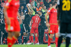 Wales Manager Chris Coleman hugs Goalscorer Gareth Bale (Real Madrid) afer he is substituted late in the game - Photo mandatory by-line: Rogan Thomson/JMP - 07966 386802 - 12/06/2015 - SPORT - FOOTBALL - Cardiff, Wales - Cardiff City Stadium - Wales v Belgium - EURO 2016 Qualifier.