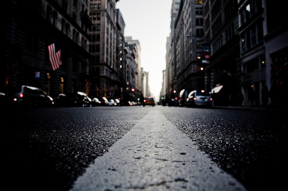 White line in the middle of Fifth Avenue, between 18th and 17th street in Manhattan, New York, 2009.