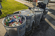 Garbage cans and bags full at Black Point Marina after a weekend.